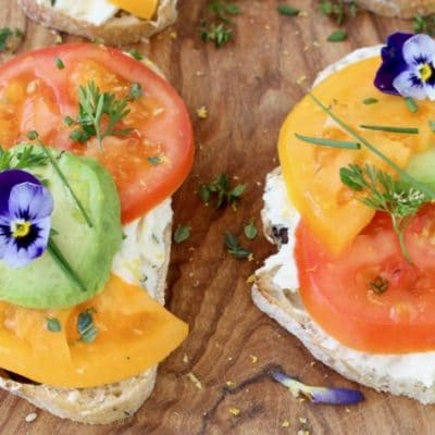 Open Faced Tomato Avocado Sandwiches with Goat Cheese