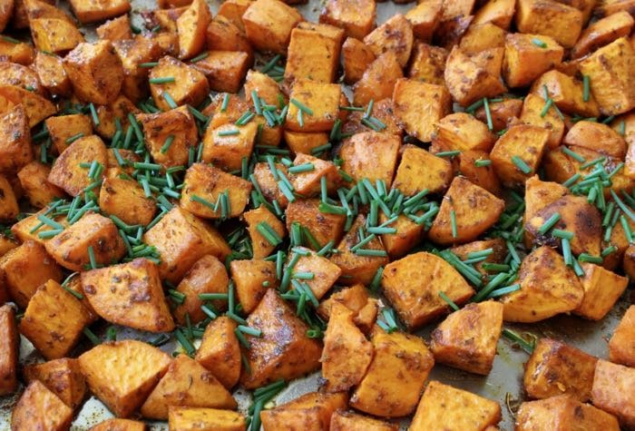 Healthy Sweet Potato Mash with Chives and Thyme
