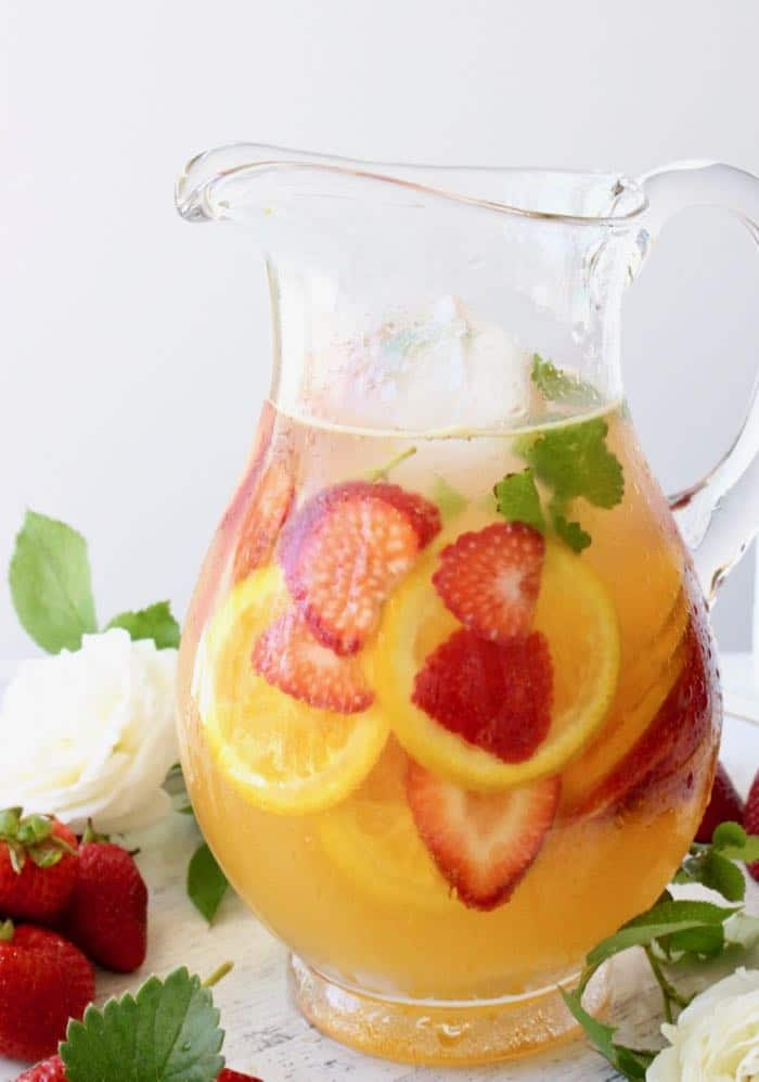 Pitcher of Strawberry White Wine Sangria
