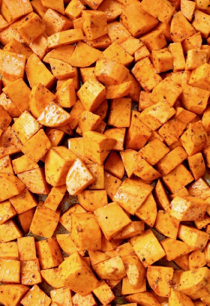 Seasoned Sweet Potatoes Roasting