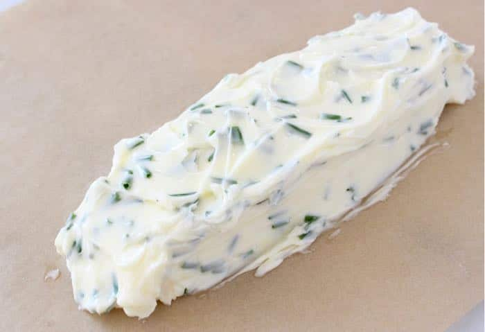 Compound Garlic Chive Butter Shaped into a Log