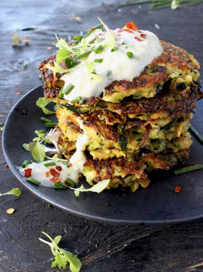 Stacked Zucchini Cakes with Yogurt and Herbs