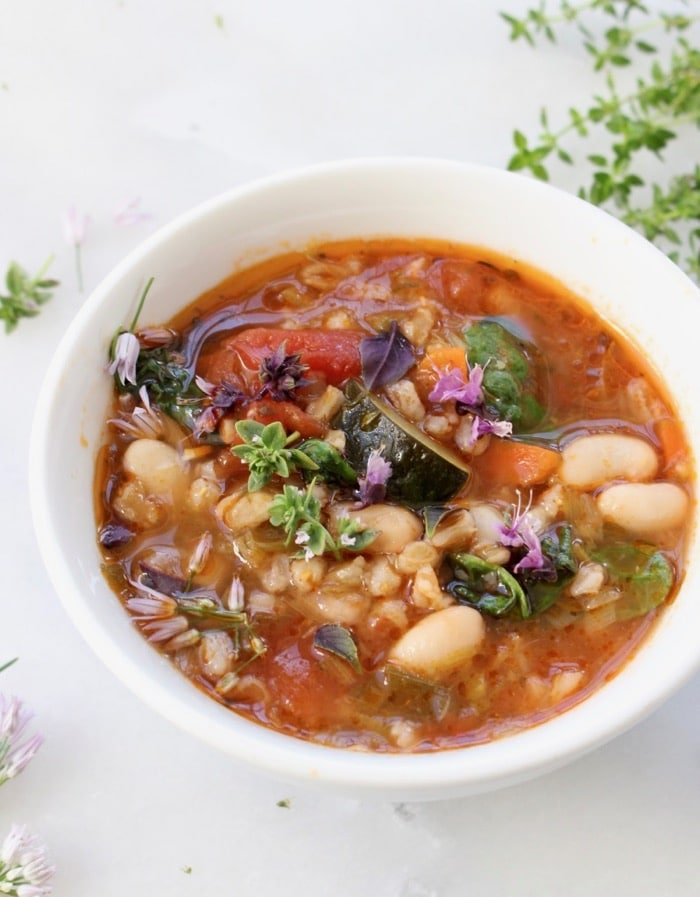 Easy Italian Vegetable Soup with Farro and Cannellini Beans