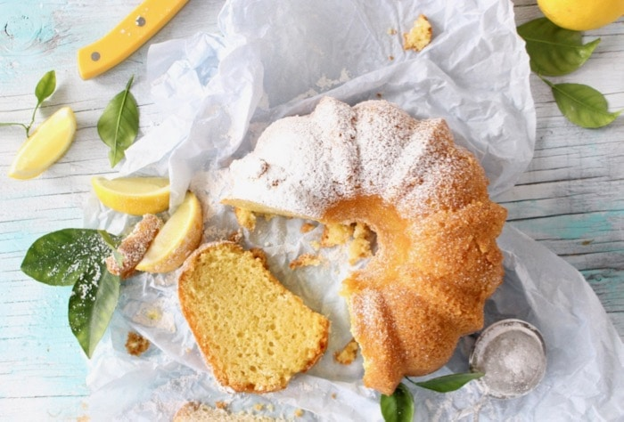 Greek Yogurt Lemon Cake in Bundt Cake Form