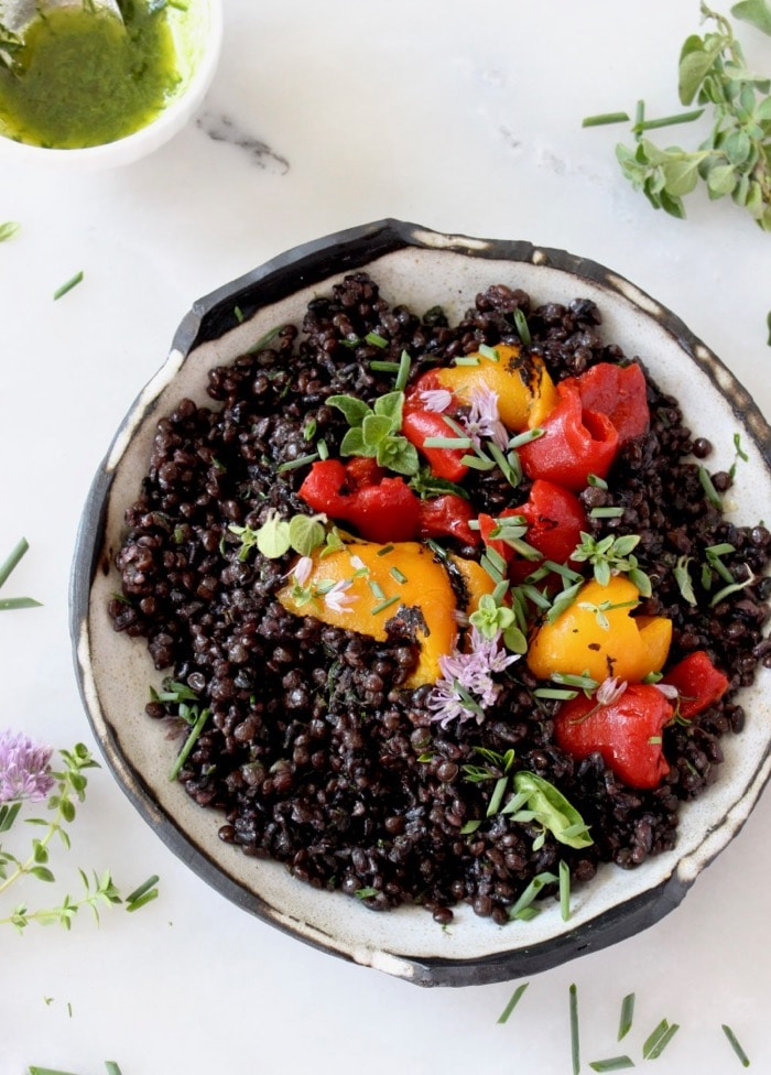 Quinoa Lentil Black Rice Salad with Lemon Chive Vinaigrette