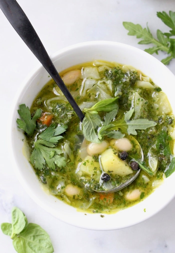 Italian Green Bowl of Minestrone di Verdure Soup with Pesto, Cabbage and Potatoes