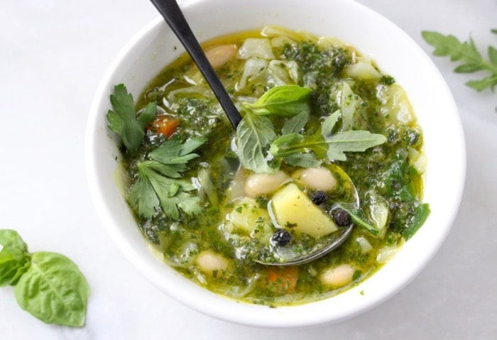 Italian Green Minestrone di Verdure Soup with Pesto, Cabbage and Potatoes