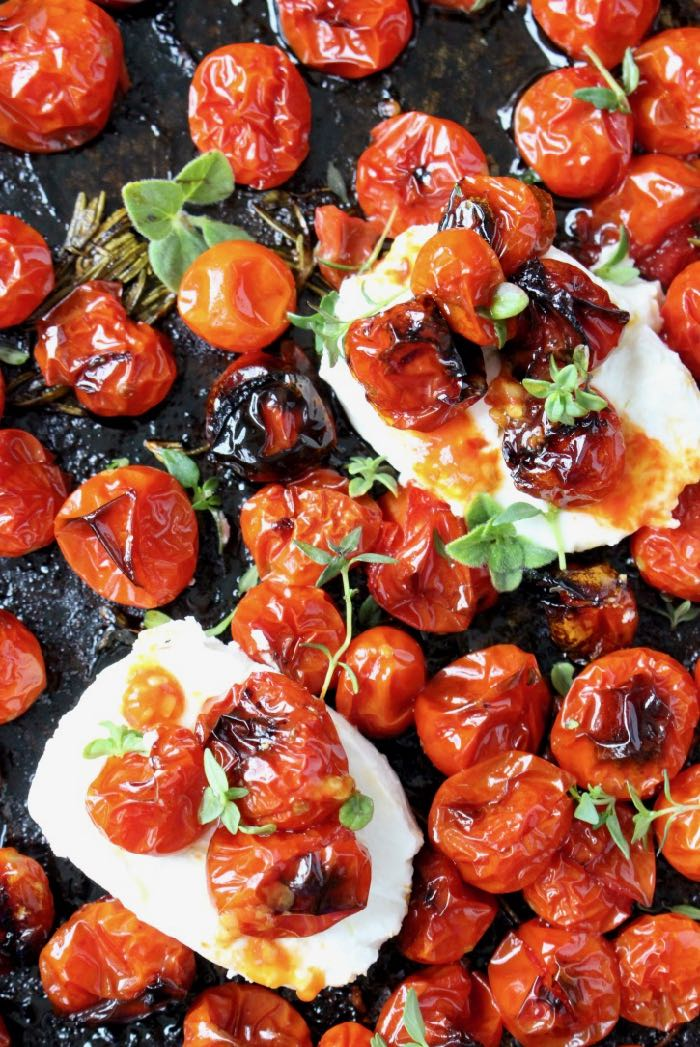Oven Roasted Cherry Tomatoes with Goat Cheese