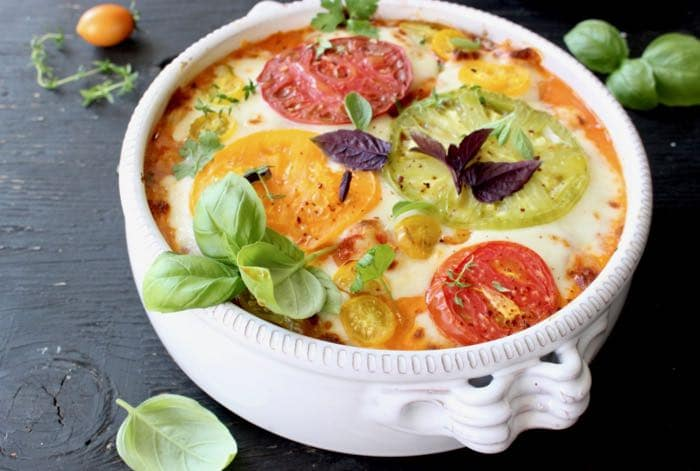 Ricotta Baked Gnocchi with Tomato, Basil and Fresh Mozzarella