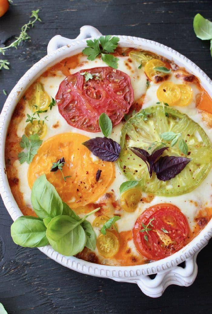 Ricotta Baked Gnocchi with Tomato, Basil and Fresh Mozzarella