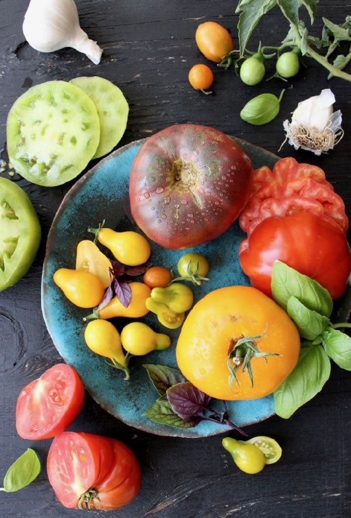 Mixed Colors Heirloom Tomatoes and Basil