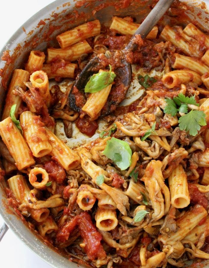 Vegetarian mushroom Bolognese sauce with Rigatoni, eggplant and roasted peppers.