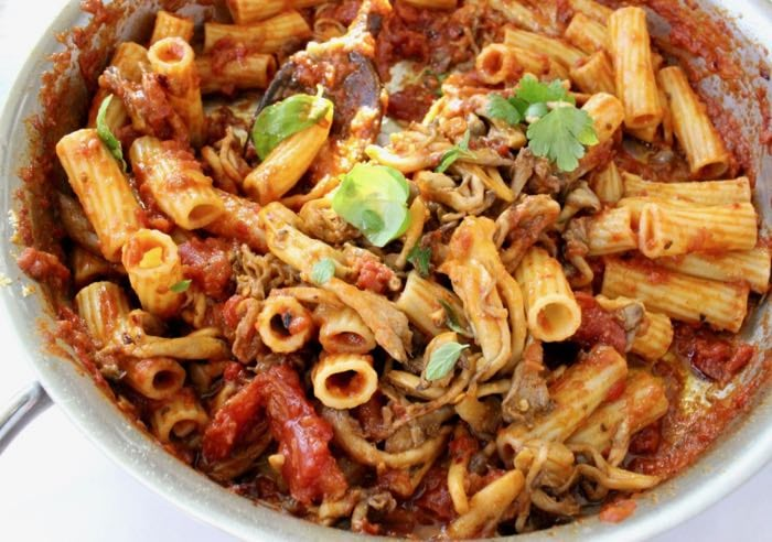 Vegetarian Mushroom Bolognese with Roasted Eggplant, Peppers and Tomatoes