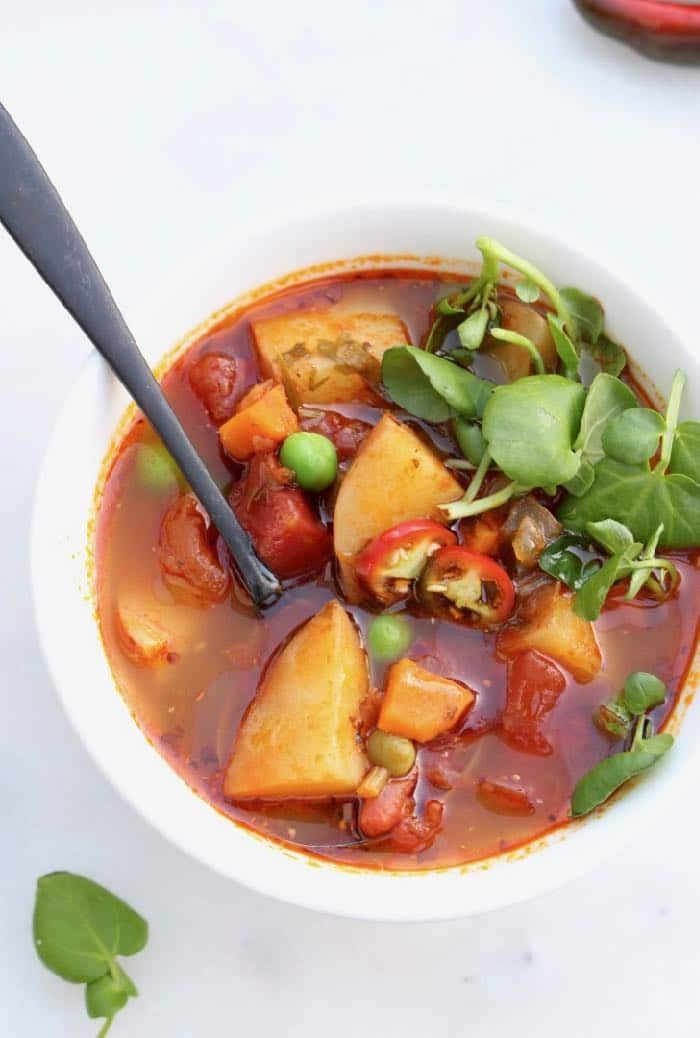 Vegan Potato Stew Recipe with Leeks, Carrots and Nutritional Yeast.
