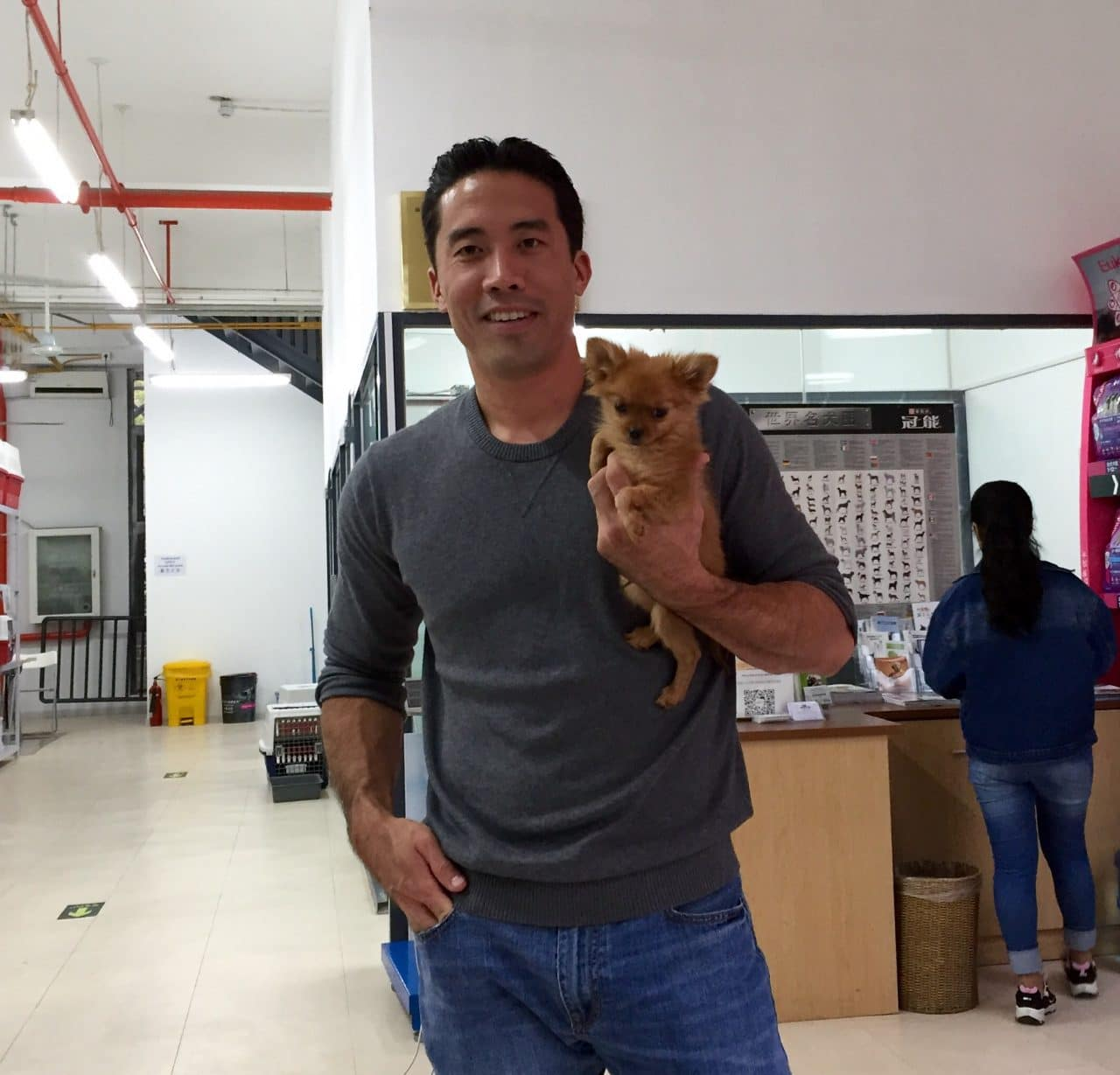 Marc Ching with Dog He Rescued