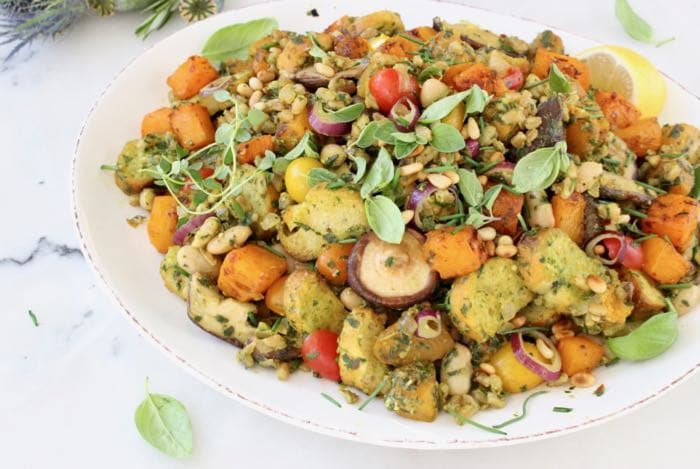 Warm Farro Panzanella Salad with Butternut Squash, Mushrooms and Pesto