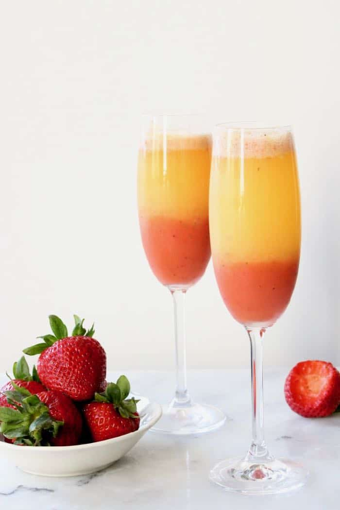 Strawberry Orange Mimosa with Italian Prosecco Wine.