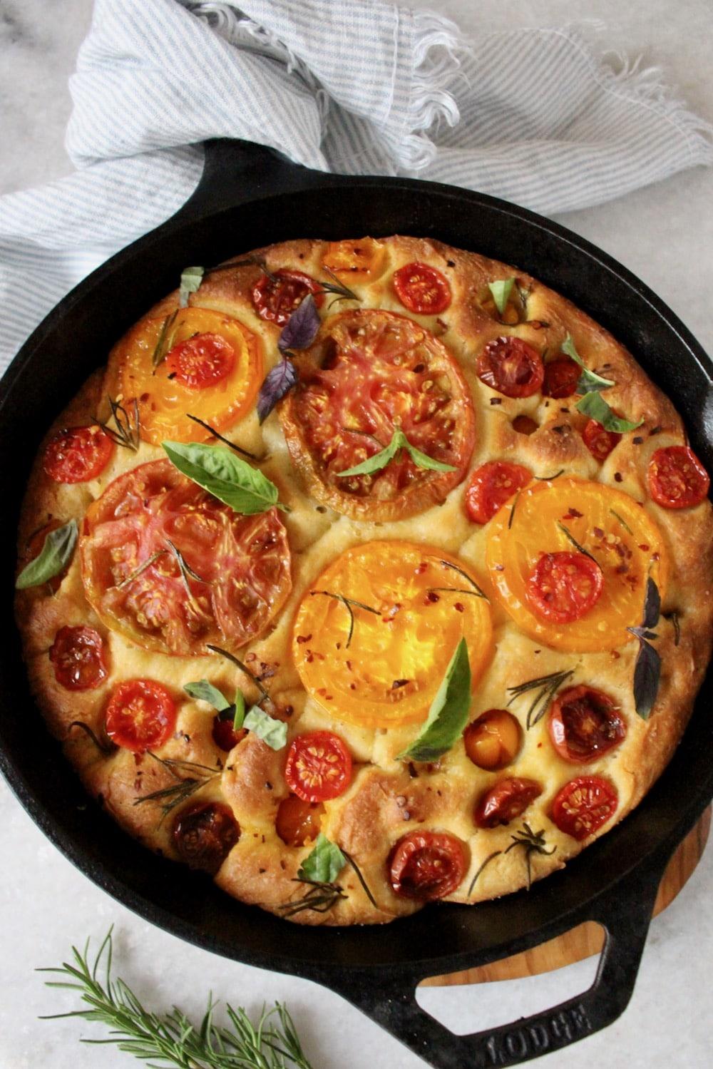 Italian Focaccia Bread Recipe with Rosemary and Tomatoes
