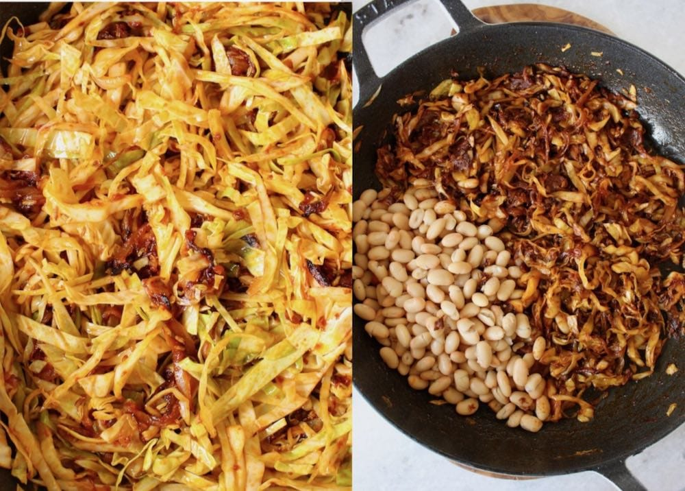Fried cabbage, onion, fennel, cannellini beans.