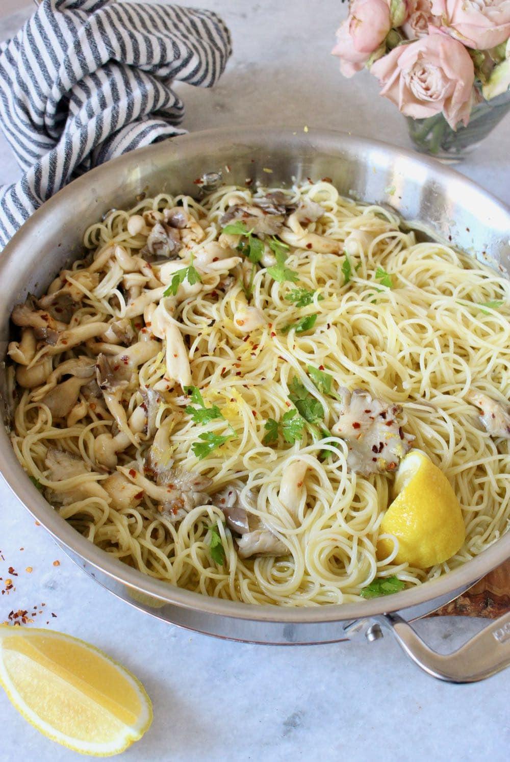 Spaghetti Aglio e Olio with Lemon and Mushrooms