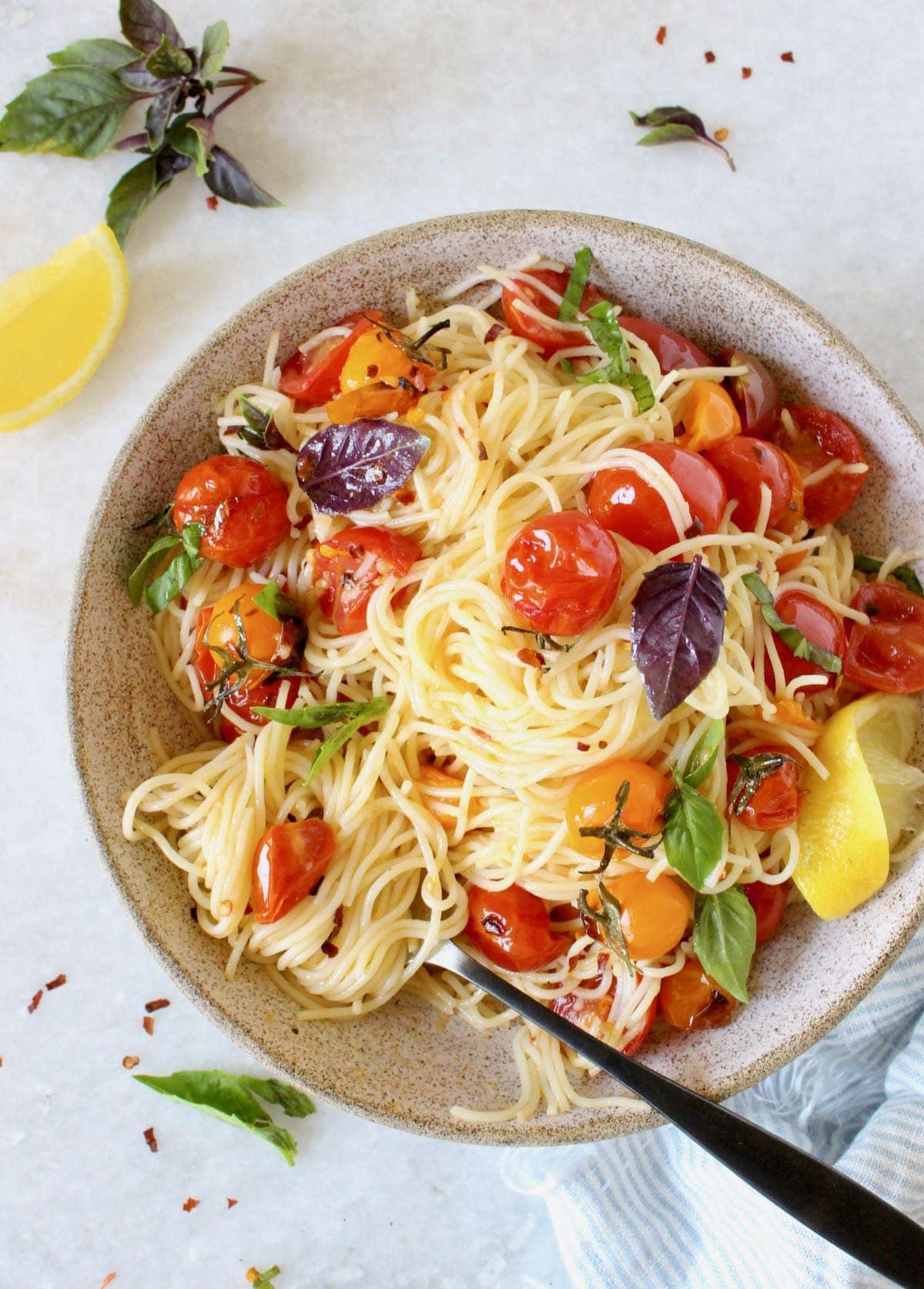 Italian capellini pomodoro