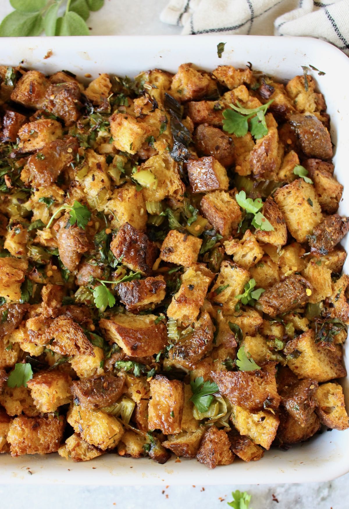 Italian bread stuffing with meatless sausage