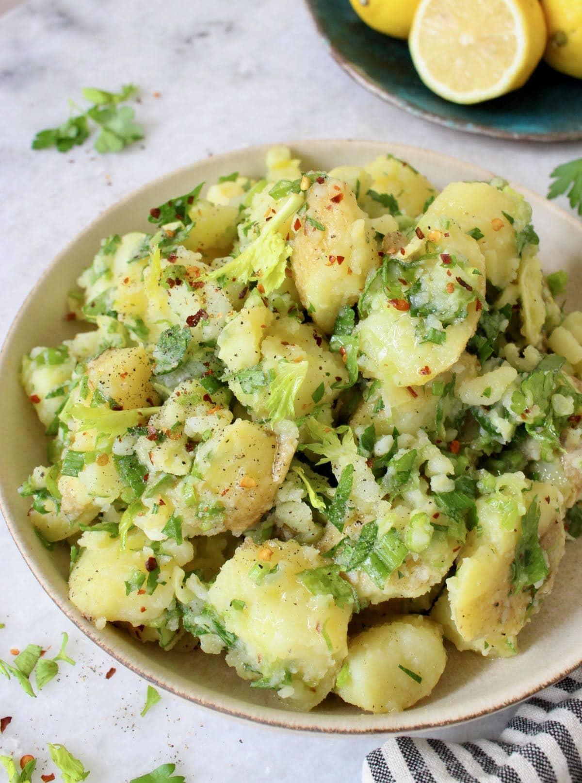parsley potatoes with smashed Yukon gold