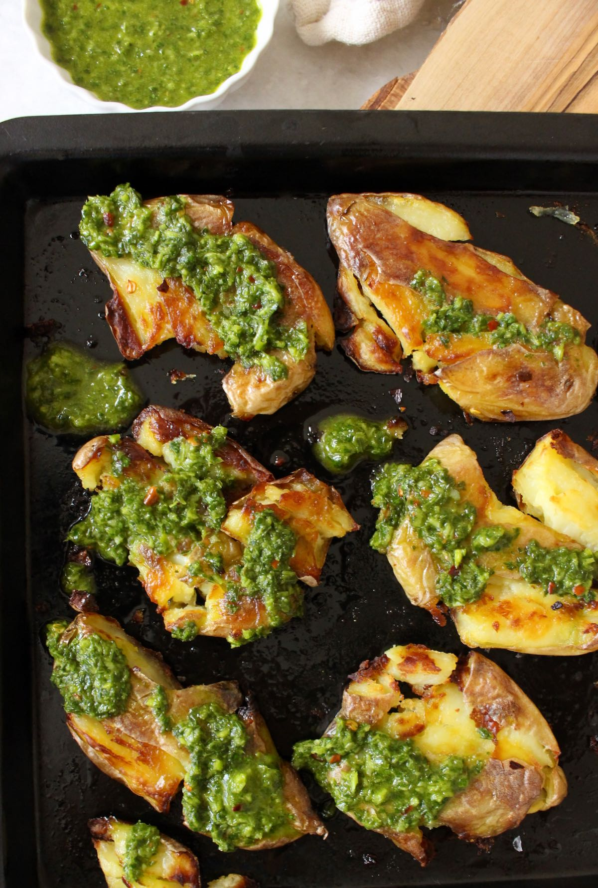 smashed fingerling potatoes with pesto sauce