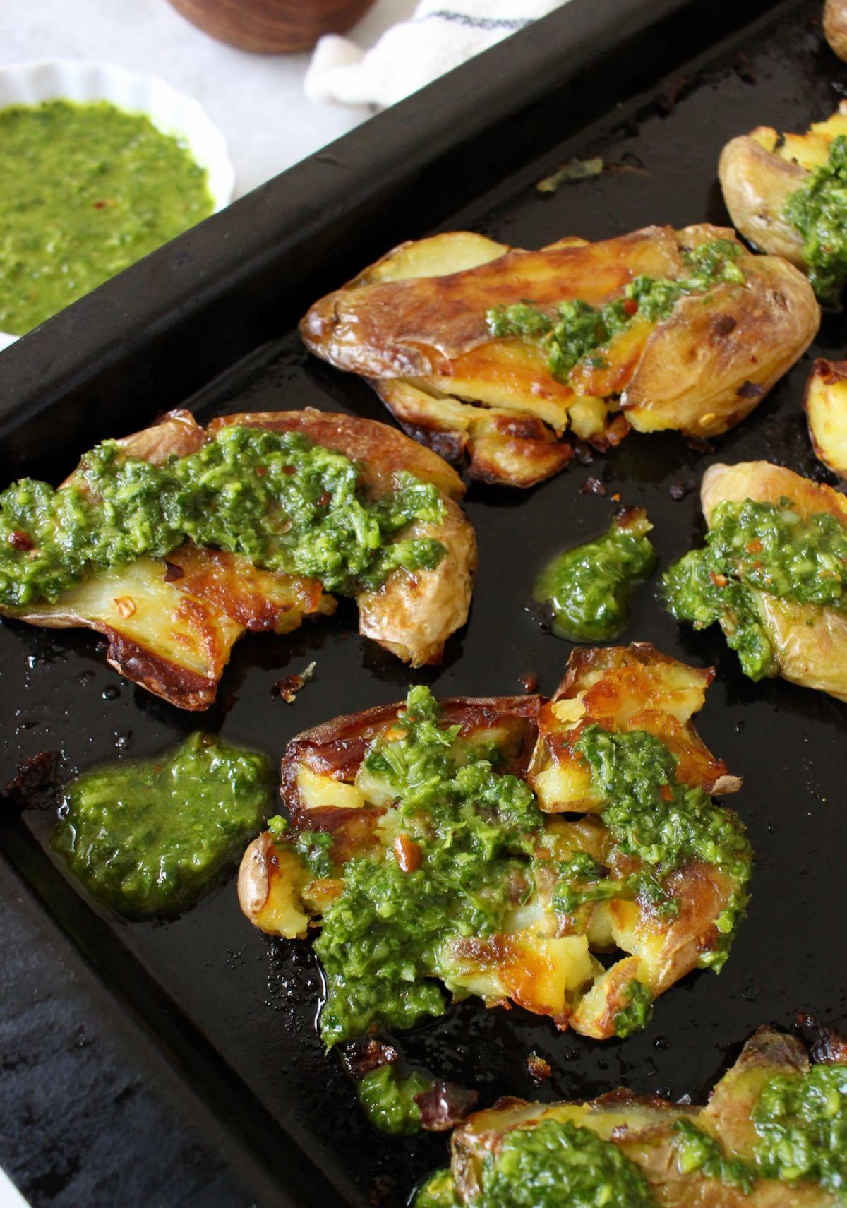 roasted smashed fingerling potatoes with garlic chimichurri sauce